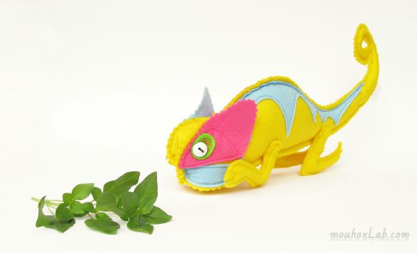 Handmade yellow chameleon