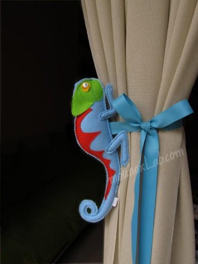 Handmade blue chameleon curtain tieback