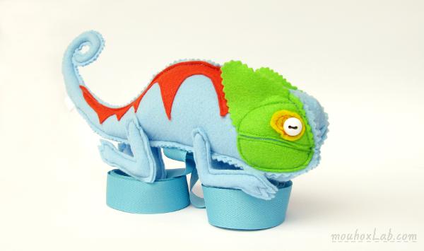 Handmade blue chameleon