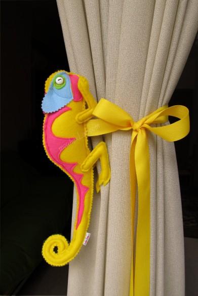Handmade yellow chameleon curtain tieback